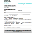 A screenshot of the child referral form